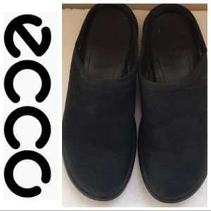 ECCO Black Leather Mules Size 7